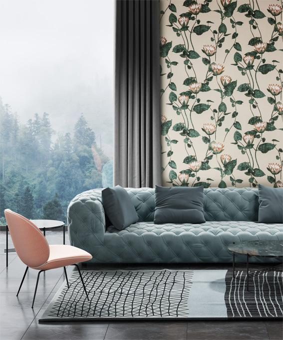 Papel Pintado Interiorismo Floral